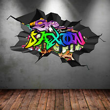 FULL COLOR PERSONALIZED 3D GRAFFITI NAME CRACKED WALL ART STICKERS DECALS MURAL