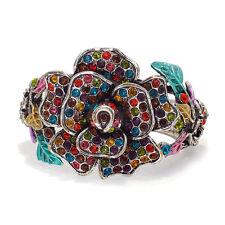Flower Wide Cuff Bracelet Bangle Jewelry Multi-color Enamel Vintage Design Party