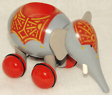 VILAC - Gray & Red - WOOD Circus Elephant - Rolling Wheels - Collectible Toy