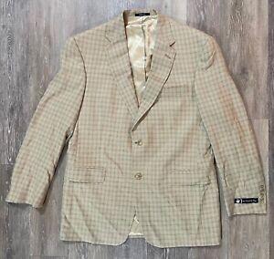 Hart Schaffner Marx Tan Plaid Sport Suit Coat Blazer 42R NWT NEW MSRP $550