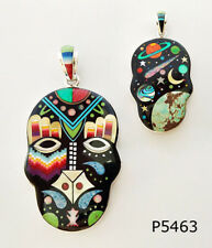2 IN 1 CELESTIAL MULTICOLOR TURQUOISE OPAL SPINY INLAY .925 SILVER SKULL PENDANT