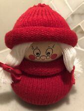 "SWEDISH CHRISTMAS Gnome Mrs Santa ~ 4"" WOOD DOLL"