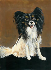 Pappilion puppy dog painting reproduction print 8x10 on cardstock of original