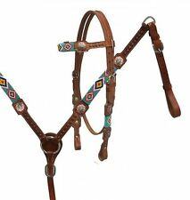 Showman Medium Leather Bridle & Breast Collar W/ TEAL Beaded Wrapped Overlays!