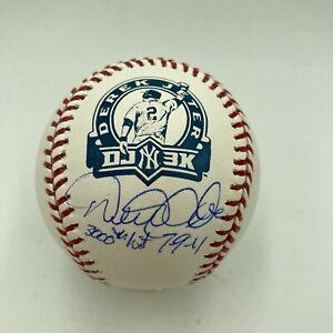 Beautiful Derek Jeter 3,000th Hit 7-9-11 Signed Inscribed Baseball Steiner COA