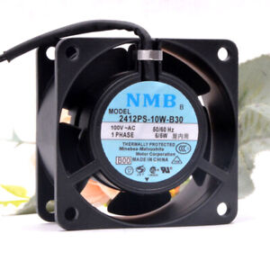 1PC NMB 2412PS-10W-B30 6028 6CM AC100V 6W aluminum frame inverter AC fan