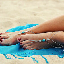 Anklet Chain Ankle Bracelet Foot Beach Women One Pair Boho Silver Turquoise