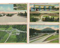 Lot of 4 Linen Postcards  Interchange Turnpike PA Roadside America Highways