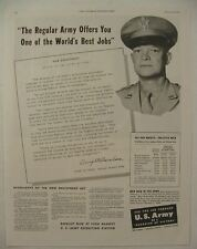 1946 U.S. ARMY Enlistment Campaign Ad DWIGHT EISENHOWER Lots of info + PAY