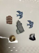 6 Novelty Shank Back buttons Seaside Lighthouse Shell Birds Roped Dock Post