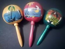 "3 Maracas Mexico Latin Wood Percussion Gourd 8"" Musical Shaker Hand Painted"