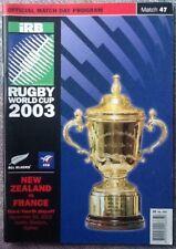 2003 coupe du monde de rugby 3rd & 4th Place jouer hors-Nouvelle-Zélande/france programme