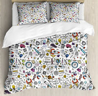 Educational Duvet Cover Set with Pillow Shams Science Laboratory Print