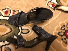 SALVATORE FERRAGAMO ITALY BLACK LEATHER SANDALS HEELS MULES 9B (MEDIUM)