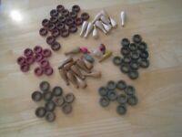 85 Vintage Carrom Board wooden pieces - 21 Bowling pins 40 rings 4 Dreidels