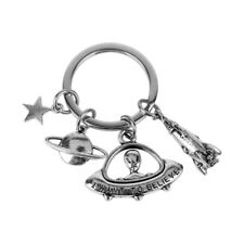 Antique I want to believe UFO Keychain ET Alien Keyring Spaceship Key Chain Ring