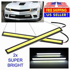 2x Super Bright White Car COB LED Lights DRL Fog Driving Lamp Strip - Waterproof
