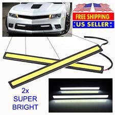 2x Super Bright White Car COB LED Lights DRL Fog Driving Lamp Strip - Waterproof