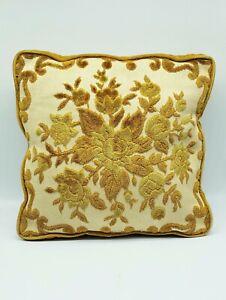 """Vintage Chenille Cut Velvet Throw Pillow Gold Floral 12"""" Square  Zipper Closure"""