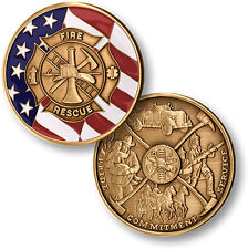 Maltese Cross with Flag - Fire / Rescue Brass Challenge Coin