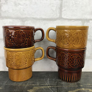 VTG Japan stoneware 8 oz nesting mugs brown and yellow set of 4