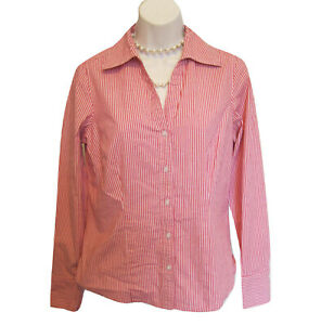 ANN TAYLOR LOFT Blouse Size 6 M Shirt Career Red Stripe Cotton Stretch Fitted