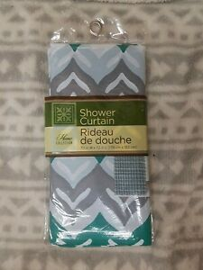 """HOME COLLECTION turquoise,grey&wh Striped Plastic Shower Curtain  70"""" X 72"""" New"""