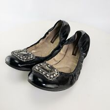Adrienne Vittadini Womens Black Faux Leather Studded Ballets Flats Size 10 M