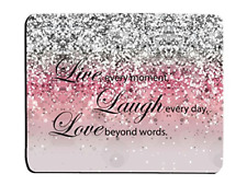 Glitter Mouse Pad Pink Sparkle Quote Live Love Laugh Customized Rectangle Rubber