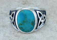 MENS .925 STERLING SILVER CELTIC TURQUOISE RING size 12 style# r2825