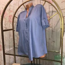 Dressbarn Women's Sz 18/20W Blue Stripe Short Sleeved Top Blouse /EUC (6)