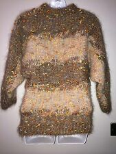 Vintage Mohair Multi Coloured Jumper Sweater Top Boho 70s 80s Hand Knitted 8 10