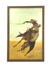 Vintage Stylized Mid Century Western Bucking Bronco Cowboy Painting on Board