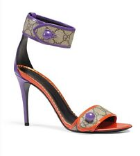 Gucci Harleth Purple Web GG Ankle Strap Sandal Pumps Size 37 7