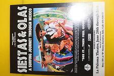 Siestas Y Olas - Surfing Mexico Surf Film Kelly Slater Flyer Handlbill 3 x 5