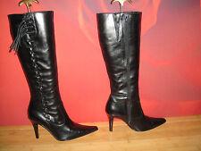 Stunning Black leather Barratts tassle boots  EU 38 *36*