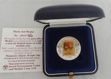 ISRAEL 1988 FLOWERS by MANE KATZ MEDAL 26mm 10g PURE SILVER +BOX + COA