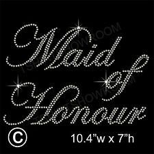 Maid of Honour Party Rhinestone Transfer Hotfix Iron on Motif Appliqué+Free Gift