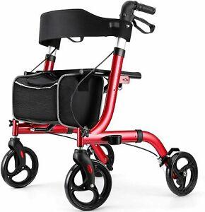 "RINKMO Rollator Walkers for Seniors- Rollator Walker with Seat 8"" Wheels RED"