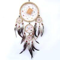 Traumfänger, Dreamcatcher, mit 5 Ringen und echten Federn 50 cm lang, D= 17 cm