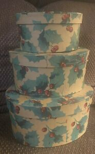 Vintage Set Of 3 Christmas Stacking Nesting Boxes Storage Decoration Holly Berry