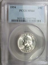 BU 1954 Silver Washington Quarter PCGS MS64.  #19