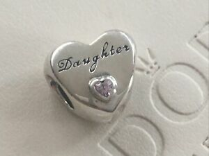 Silver Genuine PANDORA Daughter Heart Charm 791726PCZ New S925 ALE