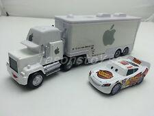 Disney Pixar Cars Radiator Springs White McQueen & White Apple Mack Toy Car New
