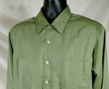 60's Penneys Towncraft Plus Loop Collar Green Shirt Mens Large Penn-Prest