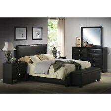 Platform FULL Size Bed Upholstered Black Leather Headboard Bedroom Furniture