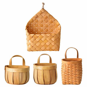 Handmade Woven Storage Basket Picnic Farmhouse Hanging Vase Potted Container