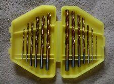 "Twist Drill Bits Set Titanium Coated HSS 13 pcs SAE 1/16"" - 1/4"" new w/ case"