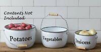 ENAMELWARE POTS VEGETABLES Set 3 WHITE BLACK TRIM Farmhouse Cottage Kitchen