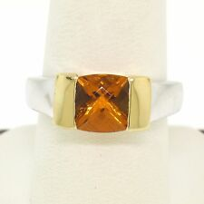 18k Solid Two Tone Gold Channel Set Checkerboard Cut Citrine Solitaire Band Ring